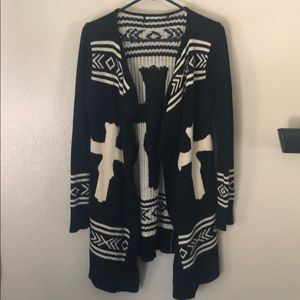 urban outfitters cross cream and black sweater S
